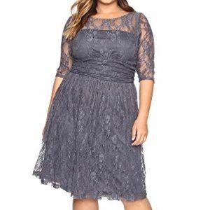 Gray lace dress, Kiyona brand, size plus 3